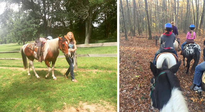 Riding horses at Swan Creek Stables