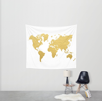 Gold Map Wall Tapestry