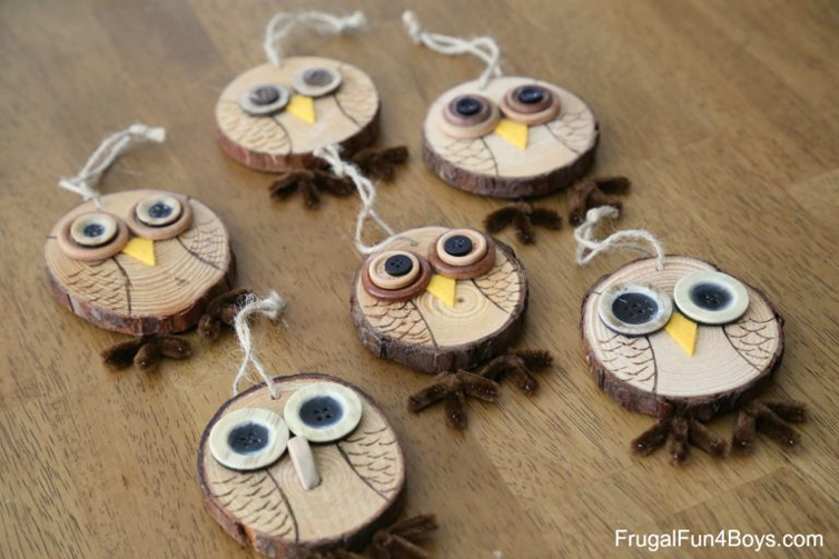 Wood Slice Owl Ornaments + Owl Tree