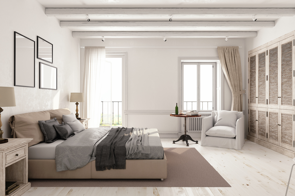 Interior of a classic Scandinavian bedroom.