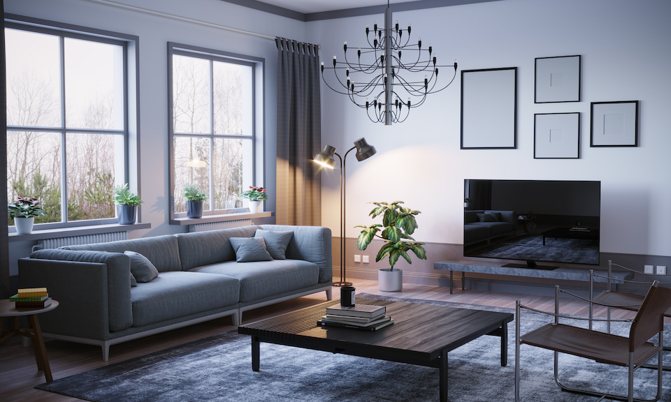 Scandinavian style designed living room interior scene on stormy weather. ( 3d render )