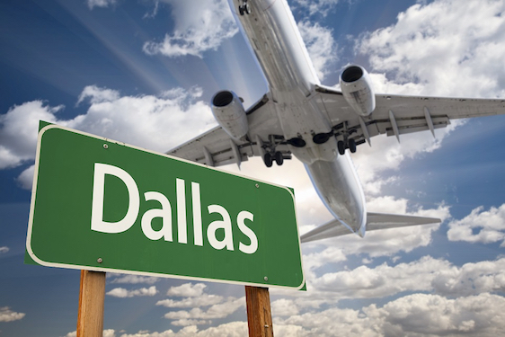 Dallas Green Road Sign and Airplane Above