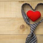 Heart in necktie over wood background, Father's day concept