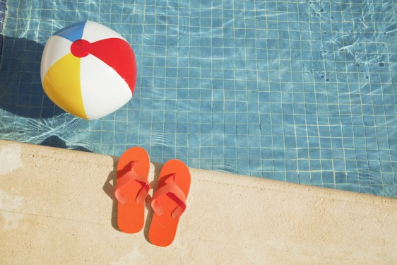 Swimming Pool Summer Vacation Fun with Floating Beach Ball, Sandals
