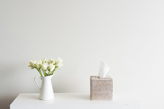 White roses in jug on shelf with rattan tissue box against neutral wall background