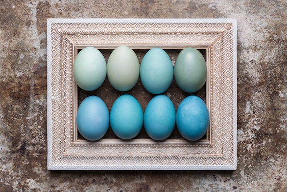Happy Easter rustic background with copy space. DIY dyed various shades of blue Easter eggs and vintage wooden picture frame mock up.