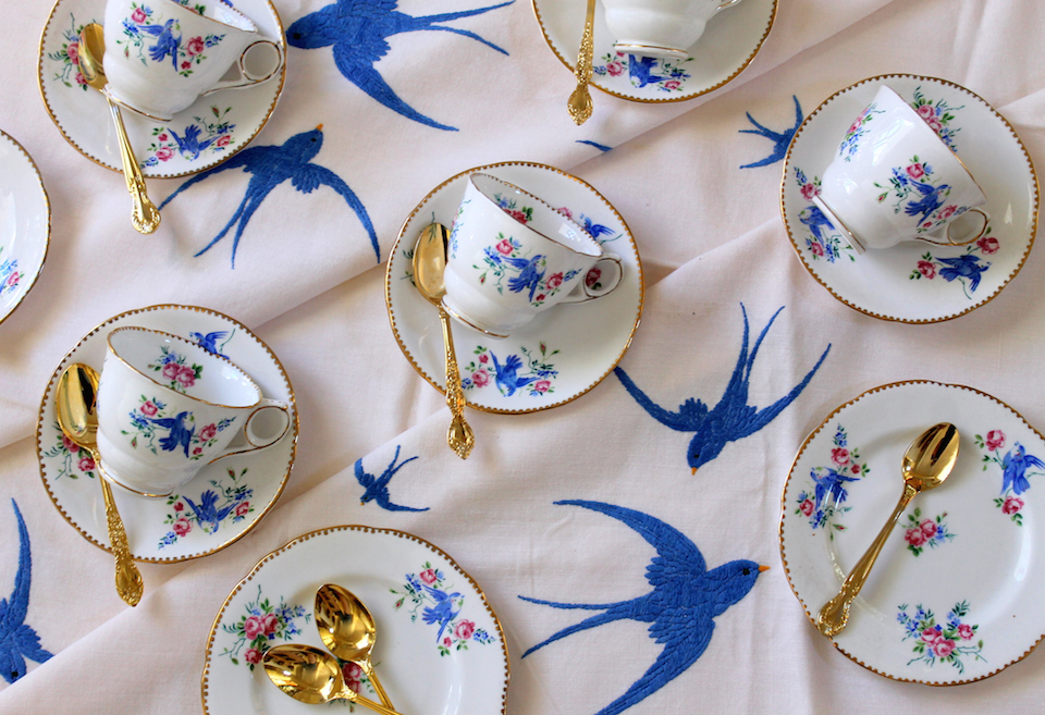 Vintage Blue Bird Tea Cups and Saucers on embroidered bluebird tablecloth with gold teaspoons - high tea party