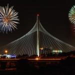 Margaret Hunt Hill Bridge with fireworks