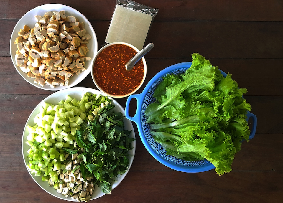 A set of ingredients for cooking Nam neung , Viatnam food on wooden table