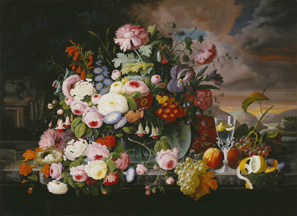 Severin Roesen (1816-1872); Still Life of Flowers and Fruit with a River Landscape in the Distance; 1867; Oil on canvas; Amon Carter Museum of American Art, Fort Worth, Texas; 1987.9