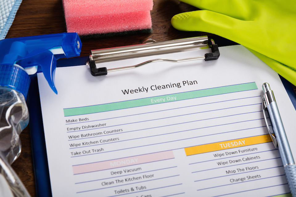 High Angle View Of Weekly Cleaning Plan Form