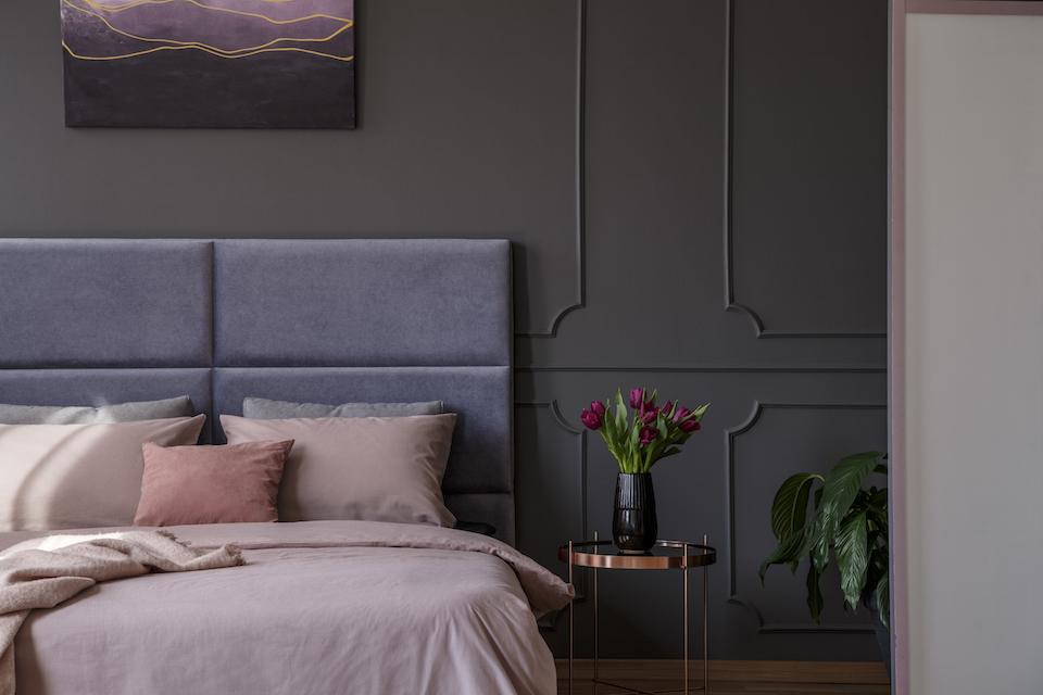 Sophisticated pastel bedroom interior