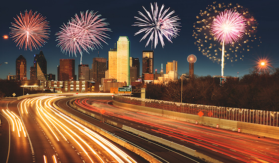fireworks for a national holiday in Dallas