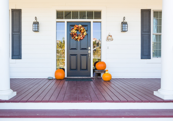 Fall Decoration Adorns Beautiful Entry Way To Home