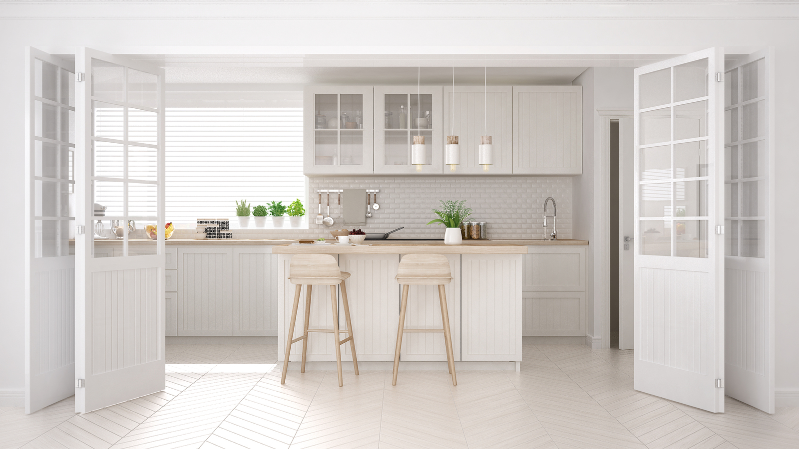 Scandinavian classic kitchen with wooden and white details, minimalistic interior design, 3d illustration