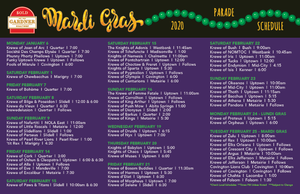 dates of mardi gras 2020