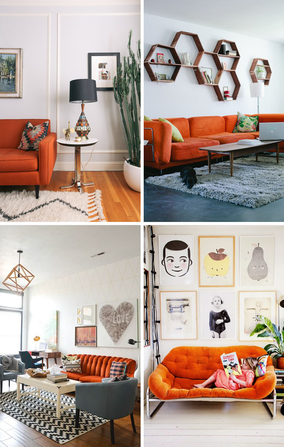 24 Colorful Couches That Make a Statement | Home Inspiration on orange velvet, orange mirror, orange room, orange leather couch, orange armchair, orange vacuum cleaner, orange door, orange knitted sweater, orange reception, orange recliner, orange basement, orange chaise, orange furniture, orange futon, orange couch and loveseat, orange dresser, orange table, orange couch pillows, orange wall, orange klippan loveseat covers,