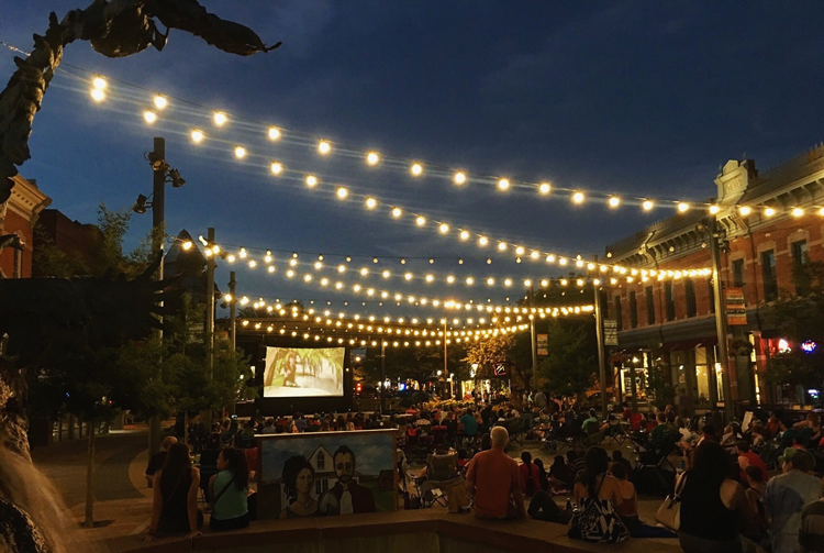 Outdoor Movie Night in Old Town Square Fort Collins Colorado Summer