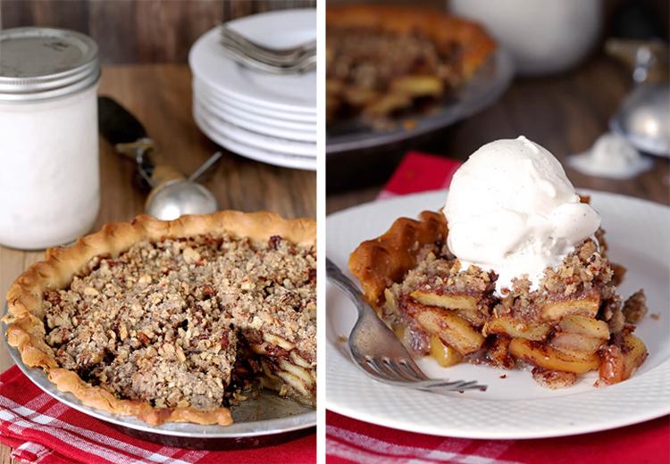 Bourbon Caramel Apple Pie With Pecan Crumble