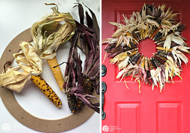 Corn Wreath, Fall Wreath + Interchangeable Apple Wreath From Today's Creative Life