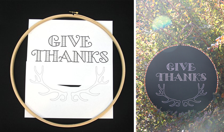 """Give Thanks"" Hoop Art From Crafty Staci"