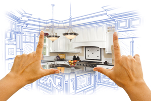 kitchen with blue print - small