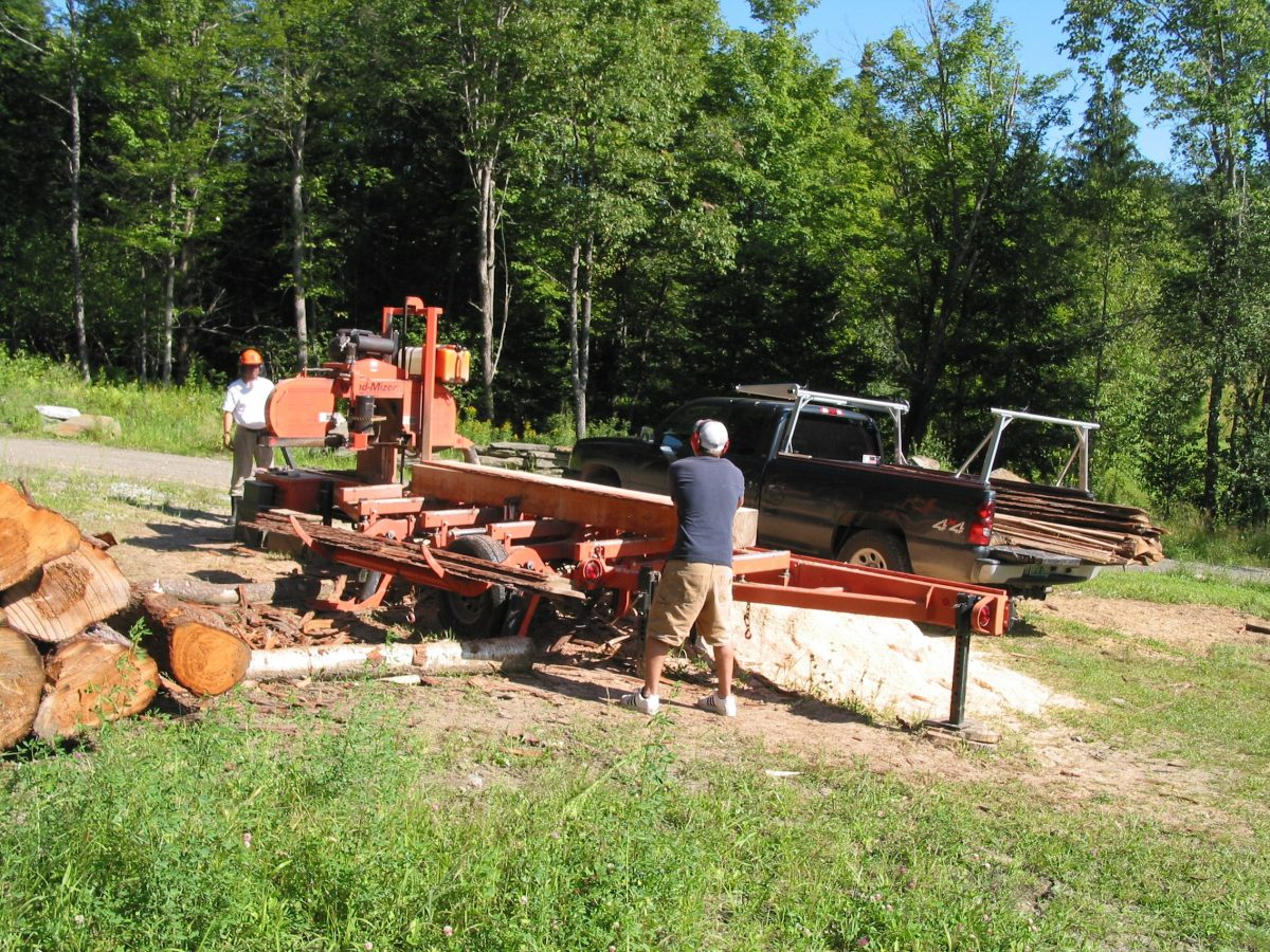 Milling logs into boards at Beaver Brook Farm, VT