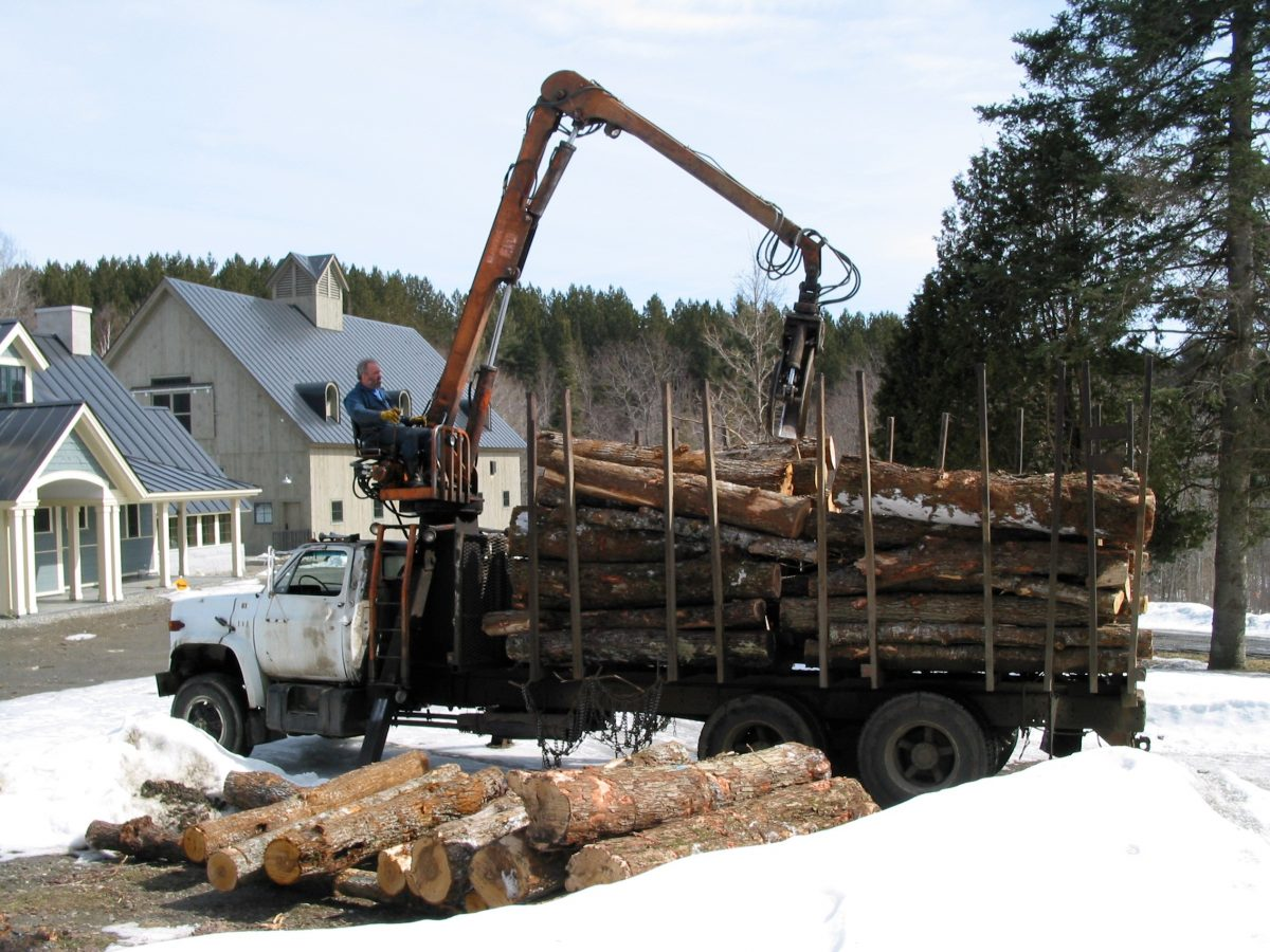"Log Truck brings logs from ""back yard"" to ""front door"" of Beaver Brook Farm"