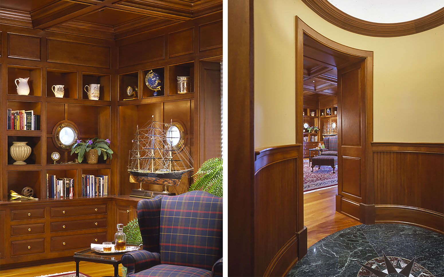 Rockport ME _Mahogany paneled office enforces Morris' nod to the tradition of maritime craftsmanship