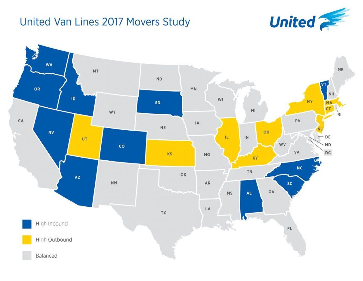United VanLines map