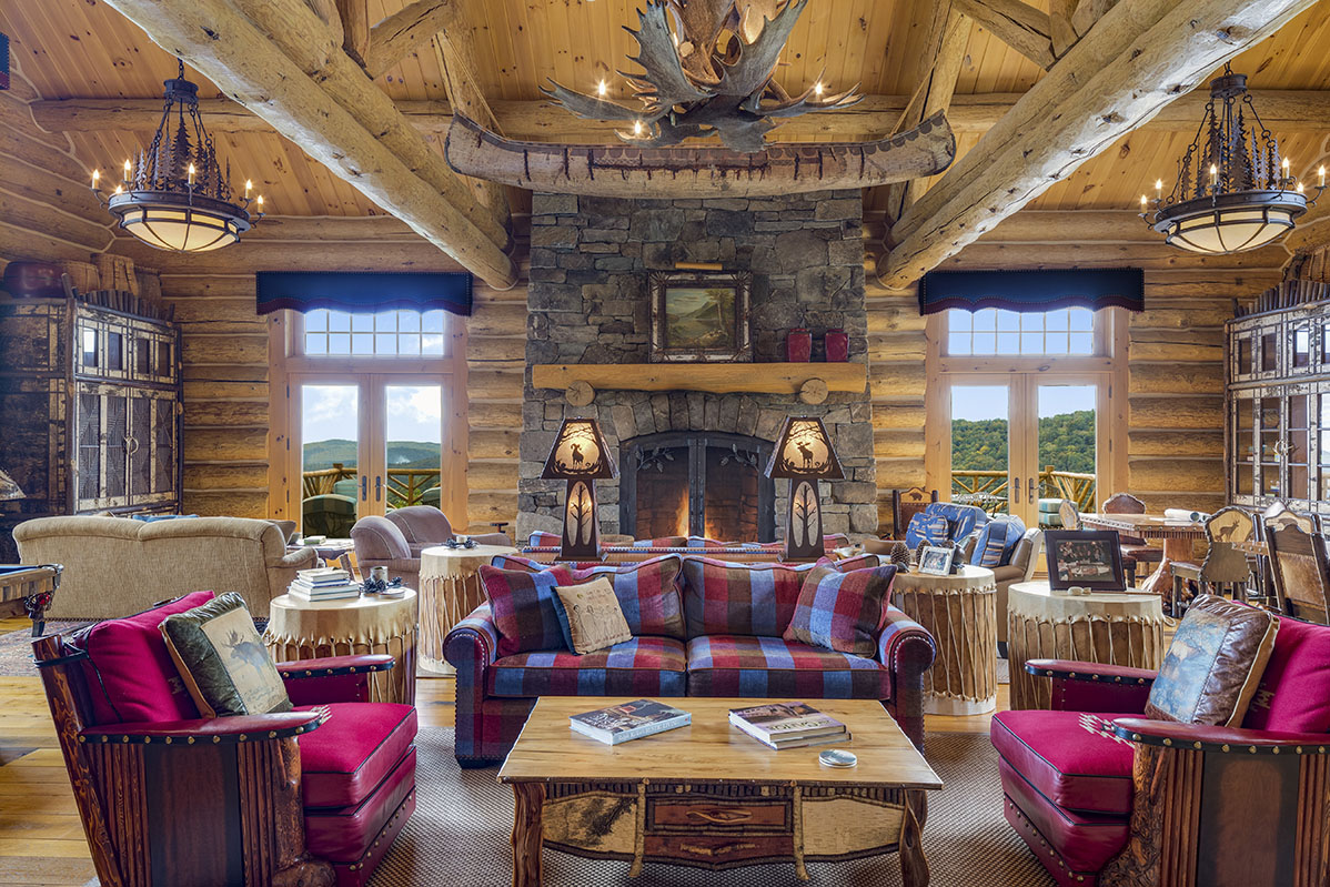 Great Room, log home, rustic living