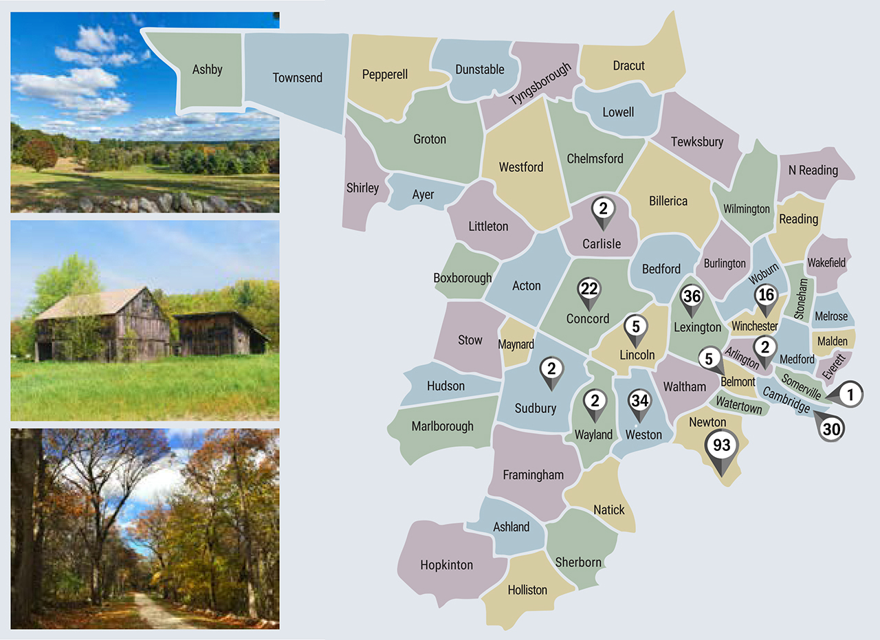 middlesex-county ma market watch Sales by Town Map