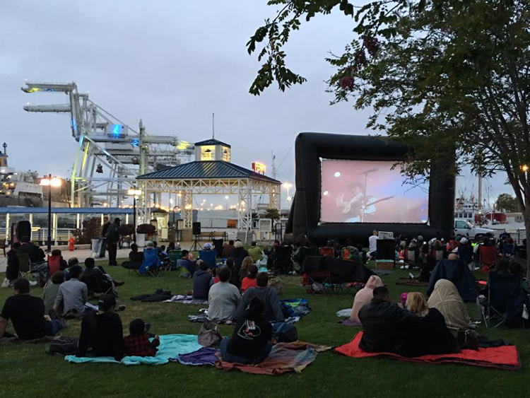 Jack London Square Waterfront Flicks Outdoor movies in the San Francisco Bay Area