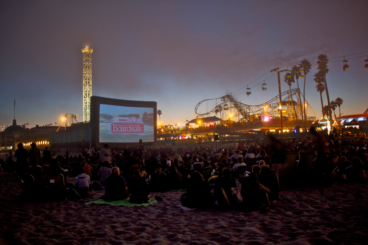 Movies on the Beach Santa Cruz Beach Boardwalk Summer movies outdoor