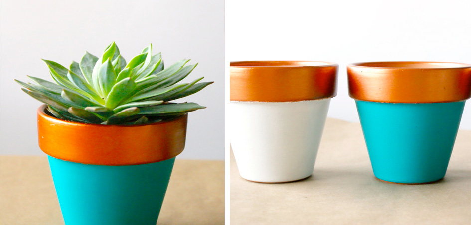 DIY Copper Dipped Planters