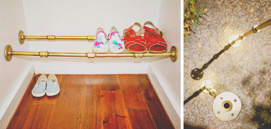 DIY Gold Shoe Rack