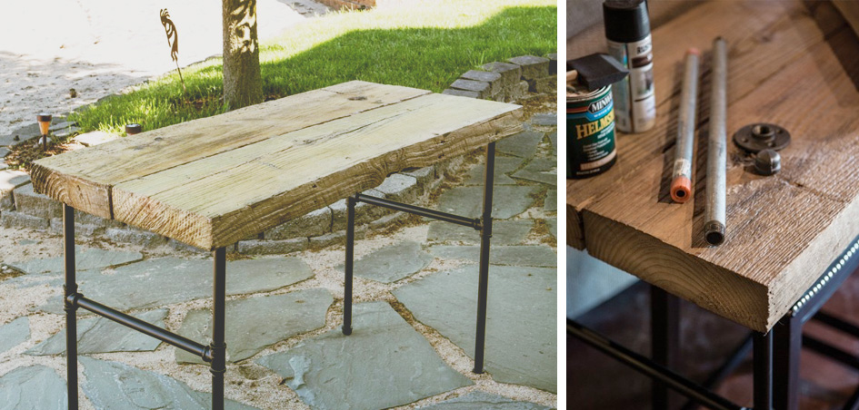 DIY Wood Pipe Table