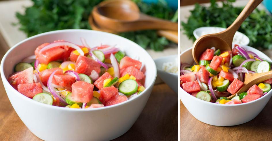 Stirlist Nebraska Food Blogger Watermelon Cucumber Salad Farmers Market Ingredients Recipe