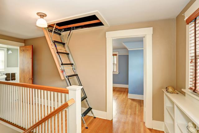 Hallway interior with folding attic ladder. Northwest USA